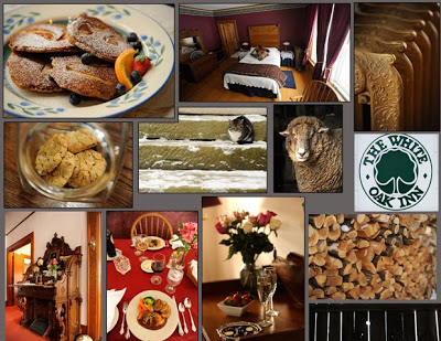 white oak photo collage with food