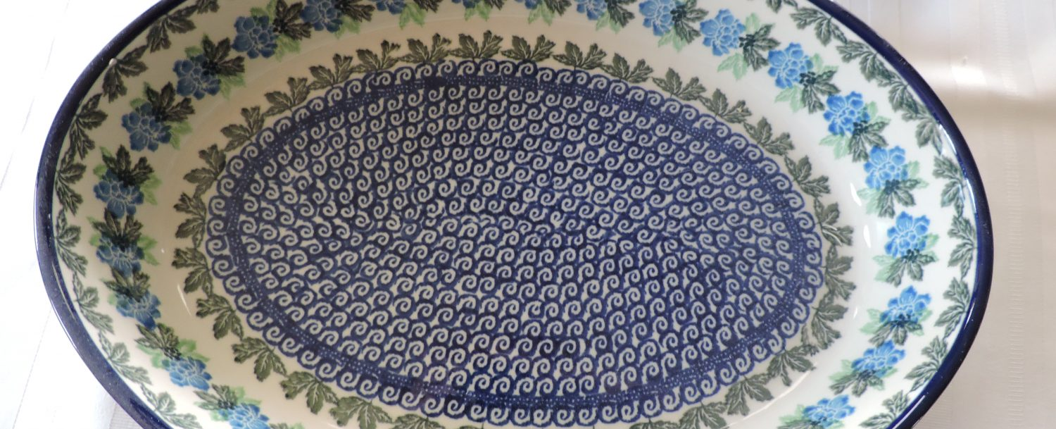 Photo of an Old Polish Pottery blue bowl.