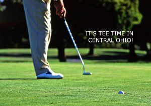 GOLFER PUTTING with title: It's Tee Time in Central Ohio