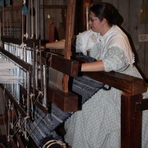 woman weaving materials
