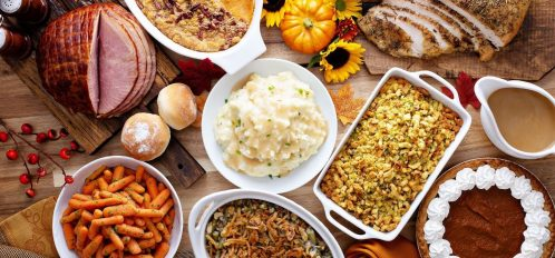 Thanksigiving table in Amish Country with a platter of seasonal foods