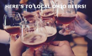 Here's to Local Ohio Beers text with hands toasting beer glasses
