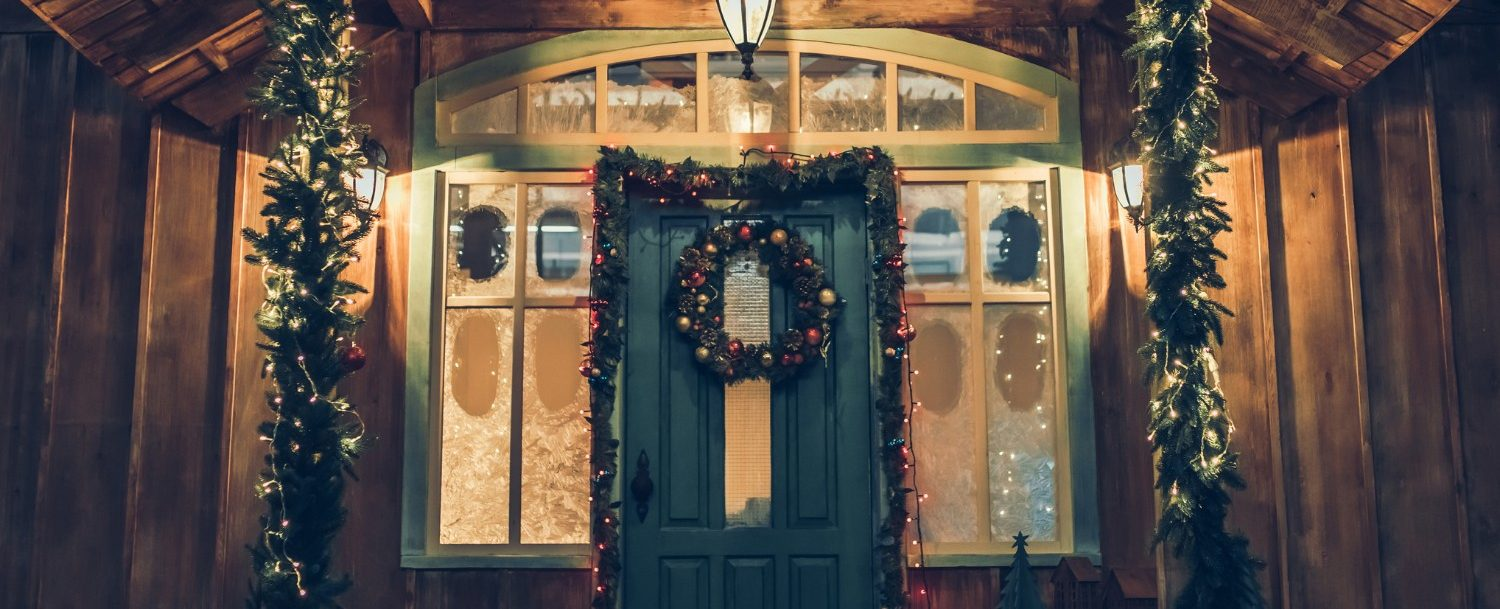 Door decorated for holidays
