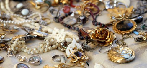 old vintage necklaces and jewelry for sale at a flea market in Amish Country, Ohio.