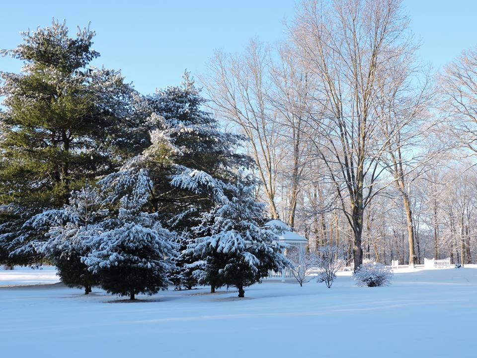 Snowy landscapes in the winter at The White Oak Inn.