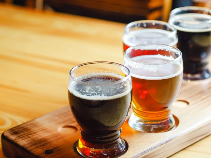A flight of craft beer at Stein Brewing Company.
