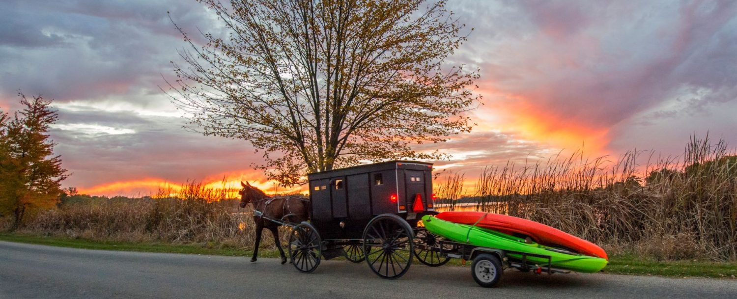 A horse in Ohio's Amish area carrying a buggy and a kayak: best places in Ohio for photography.