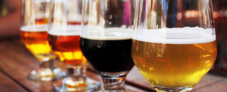 Colorful flight of beer at Millersburg Brewing