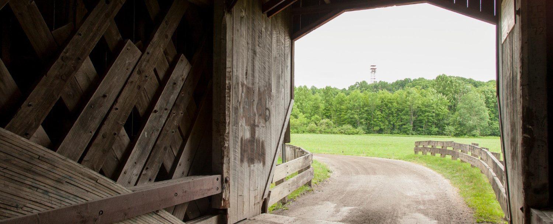 Interior view of a covered bridge in Ohio.